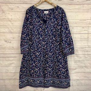 Caslon floral ditsy print drawstring shirt dress